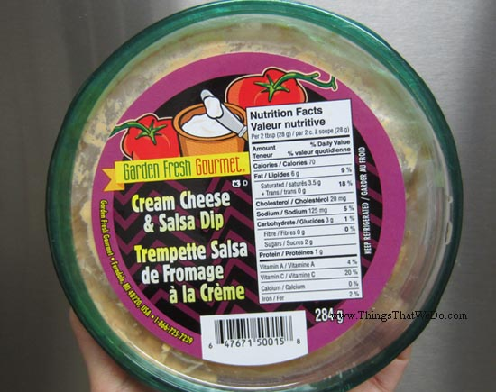 thingsthatwedo.com - garden fresh gourmet cream cheese and salsa dip
