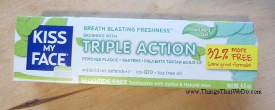 thingsthatwedo.com - kiss my face triple action cool mint get toothpaste