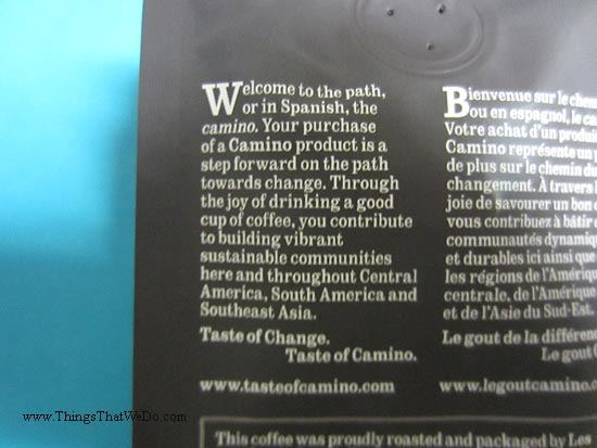 thingsthatwedo.com - camino fair trade medium roast coffee