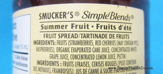 thingsthatwedo.com - smuckers simple blends fruit spread