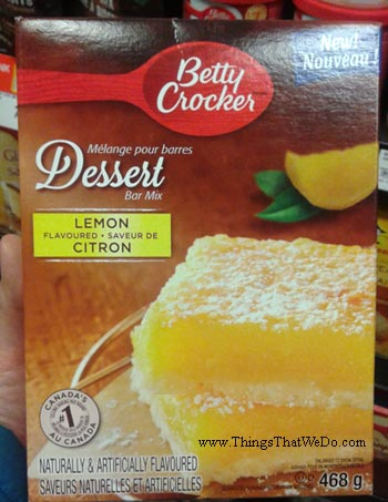 thingsthatwedo.com - betty crockers lemon flavoured dessert bar mix